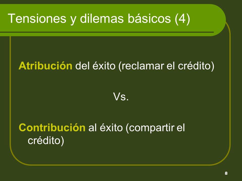 8 Tensiones y dilemas básicos (4) Atribución del éxito (reclamar el crédito) Vs.