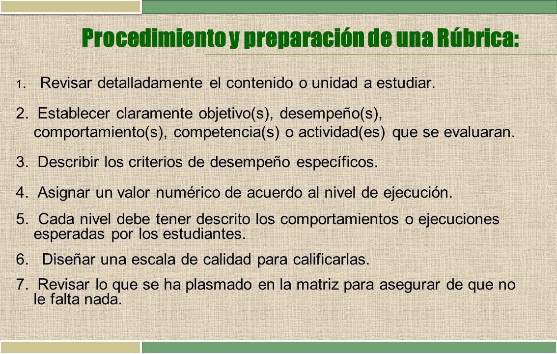 Procedimiento y preparación de una Rúbrica: 1. Revisar detalladamente el contenido o unidad a estudiar. 2. Establecer claramente objetivo(s), desempeñ