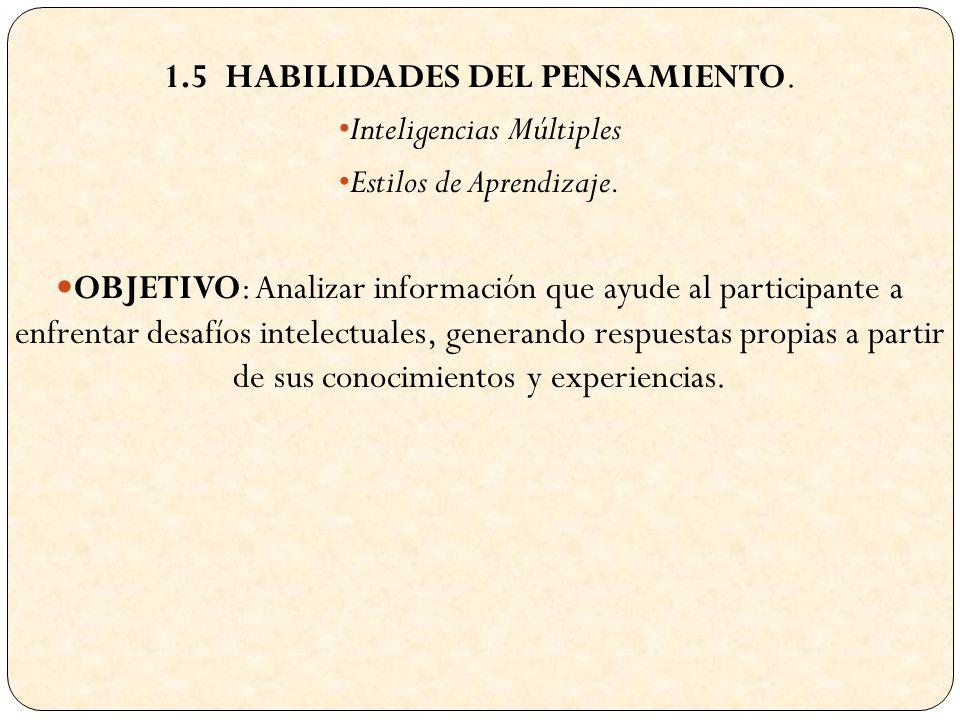 1.5 HABILIDADES DEL PENSAMIENTO. Inteligencias Múltiples Estilos de Aprendizaje.