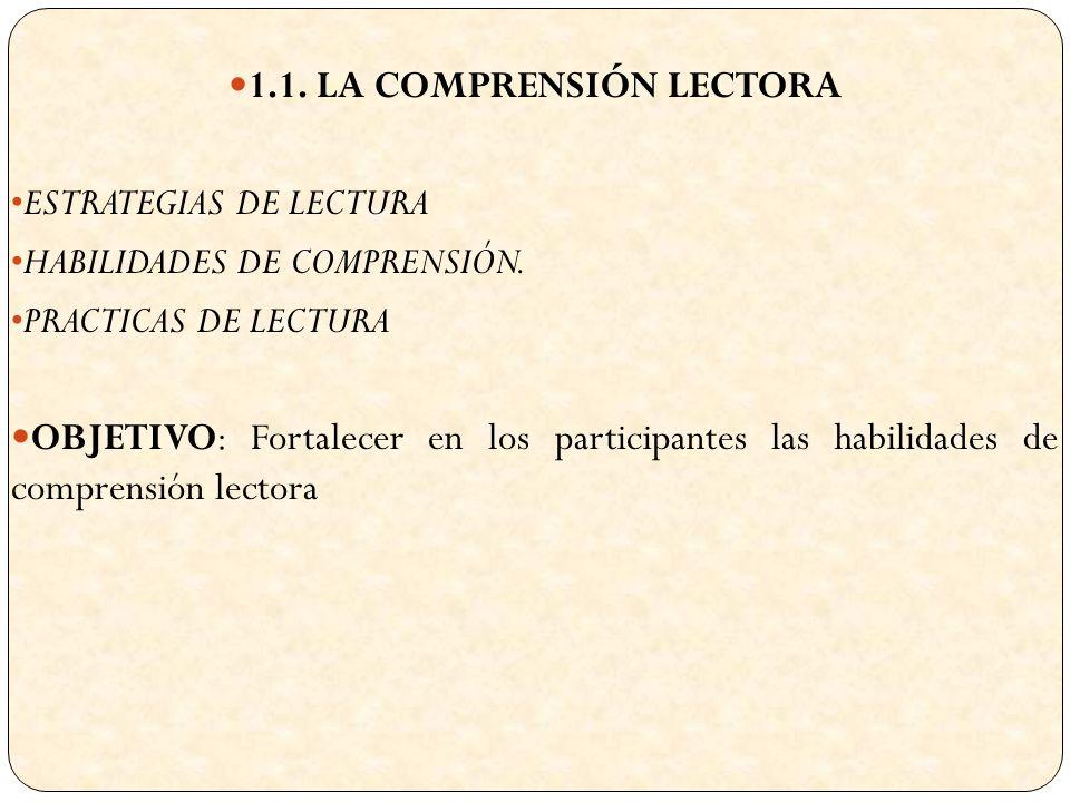 1.1. LA COMPRENSIÓN LECTORA ESTRATEGIAS DE LECTURA HABILIDADES DE COMPRENSIÓN.
