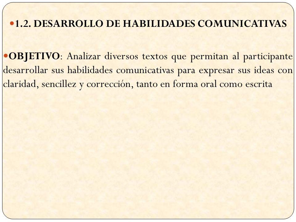 1.2. DESARROLLO DE HABILIDADES COMUNICATIVAS OBJETIVO: Analizar diversos textos que permitan al participante desarrollar sus habilidades comunicativas