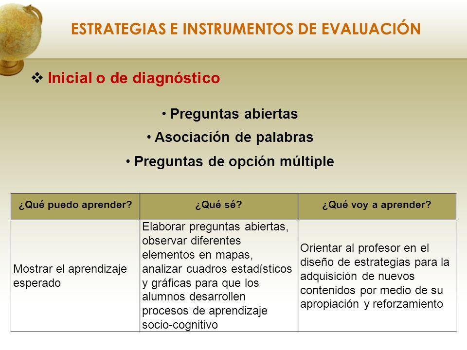 Inicial o de diagnóstico ESTRATEGIAS E INSTRUMENTOS DE EVALUACIÓN ¿Qué puedo aprender?¿Qué sé?¿Qué voy a aprender.