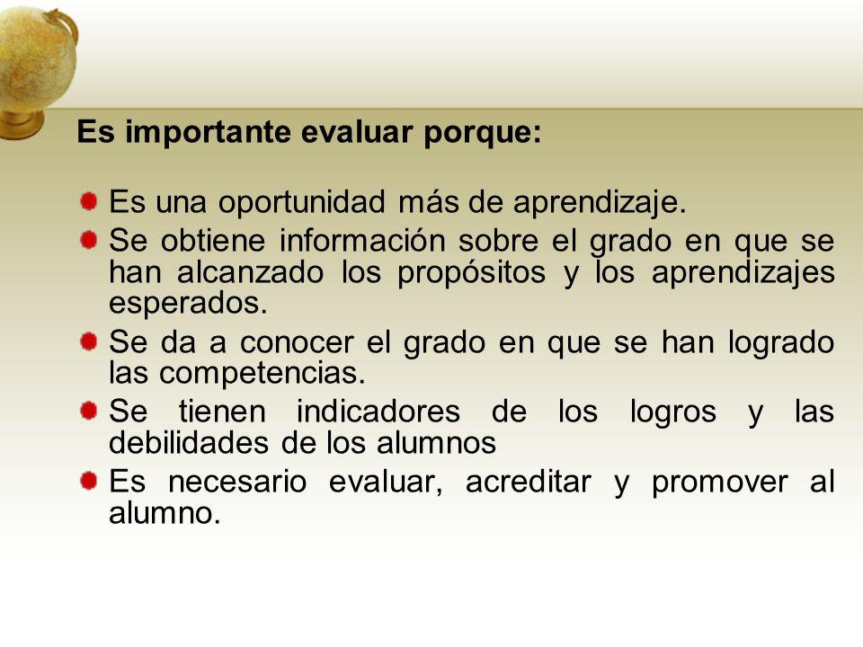 Es importante evaluar porque: Es una oportunidad más de aprendizaje.