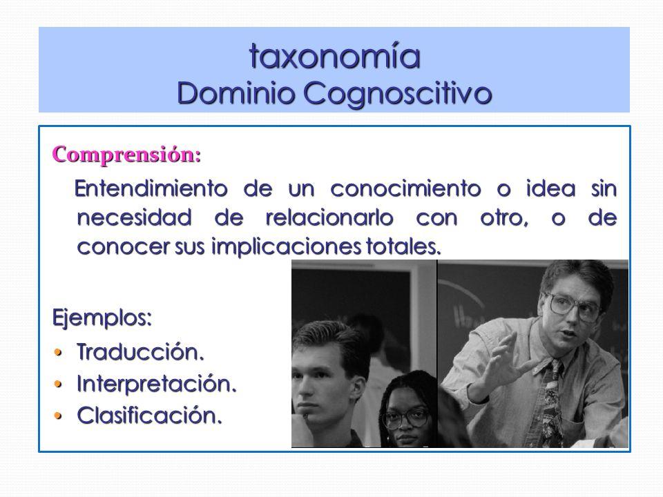 Comprensión: Entendimiento de un conocimiento o idea sin necesidad de relacionarlo con otro, o de conocer sus implicaciones totales.