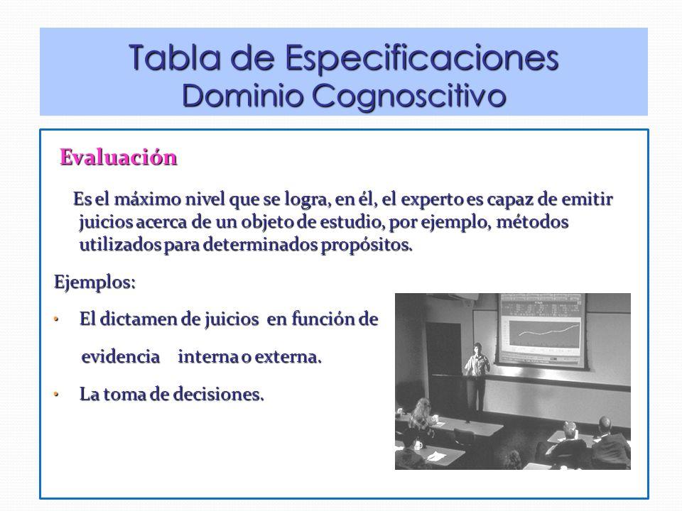 Evaluación Evaluación Es el máximo nivel que se logra, en él, el experto es capaz de emitir juicios acerca de un objeto de estudio, por ejemplo, métodos utilizados para determinados propósitos.