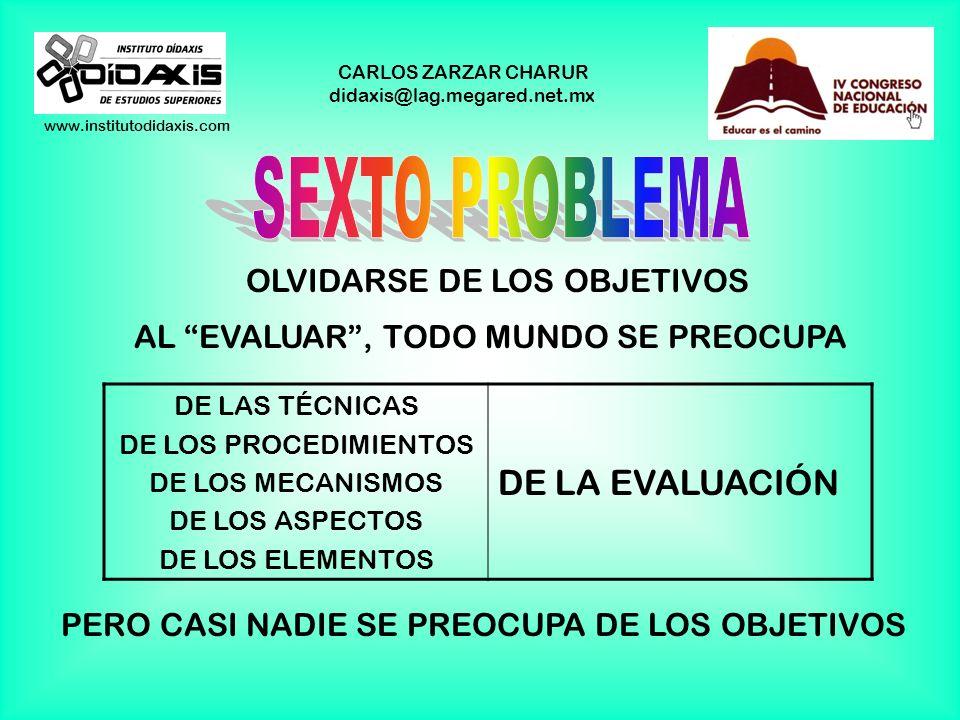 www.institutodidaxis.com CARLOS ZARZAR CHARUR didaxis@lag.megared.net.mx EVALUACIÓN DEL PROCESO DE E. A. CALIFICACIÓN EXAMEN EXAMINAR SÓLO LOS CONOCIM