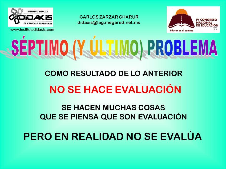 www.institutodidaxis.com CARLOS ZARZAR CHARUR didaxis@lag.megared.net.mx OLVIDARSE DE LOS OBJETIVOS AL EVALUAR, TODO MUNDO SE PREOCUPA DE LAS TÉCNICAS