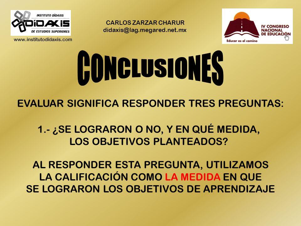 www.institutodidaxis.com CARLOS ZARZAR CHARUR didaxis@lag.megared.net.mx COMO RESULTADO DE LO ANTERIOR NO SE HACE EVALUACIÓN SE HACEN MUCHAS COSAS QUE