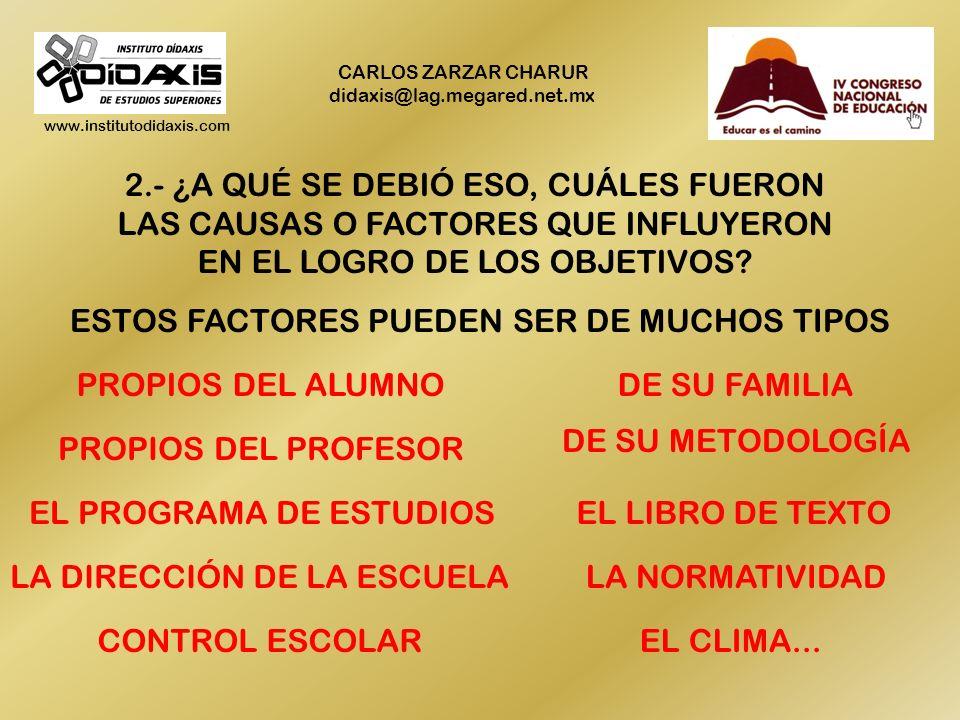 www.institutodidaxis.com CARLOS ZARZAR CHARUR didaxis@lag.megared.net.mx EVALUAR SIGNIFICA RESPONDER TRES PREGUNTAS: 1.- ¿SE LOGRARON O NO, Y EN QUÉ M