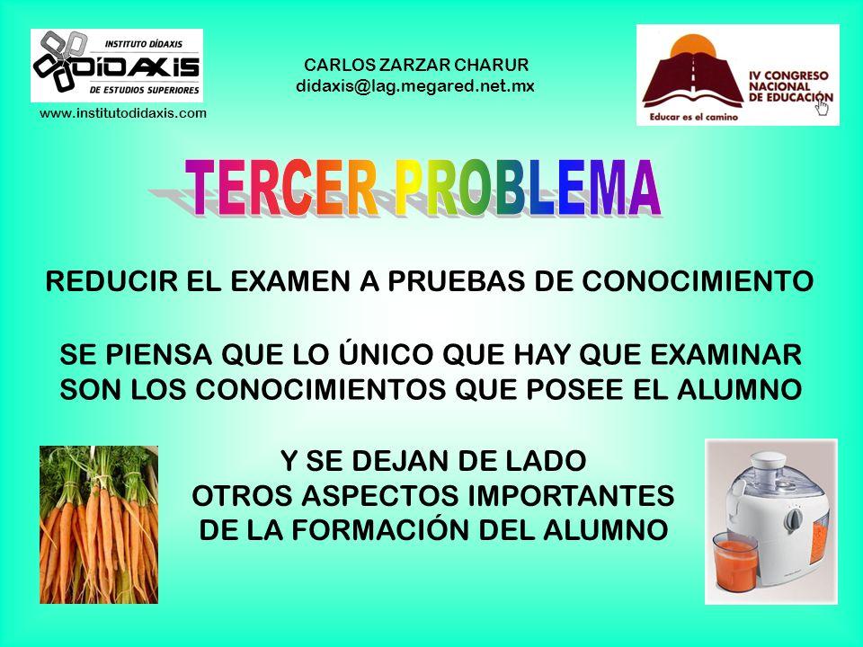 www.institutodidaxis.com CARLOS ZARZAR CHARUR didaxis@lag.megared.net.mx REDUCIR LA EVALUACIÓN Y LA CALIFICACIÓN A UN EXAMEN ¡A VER, MUCHACHOS! HOY HA
