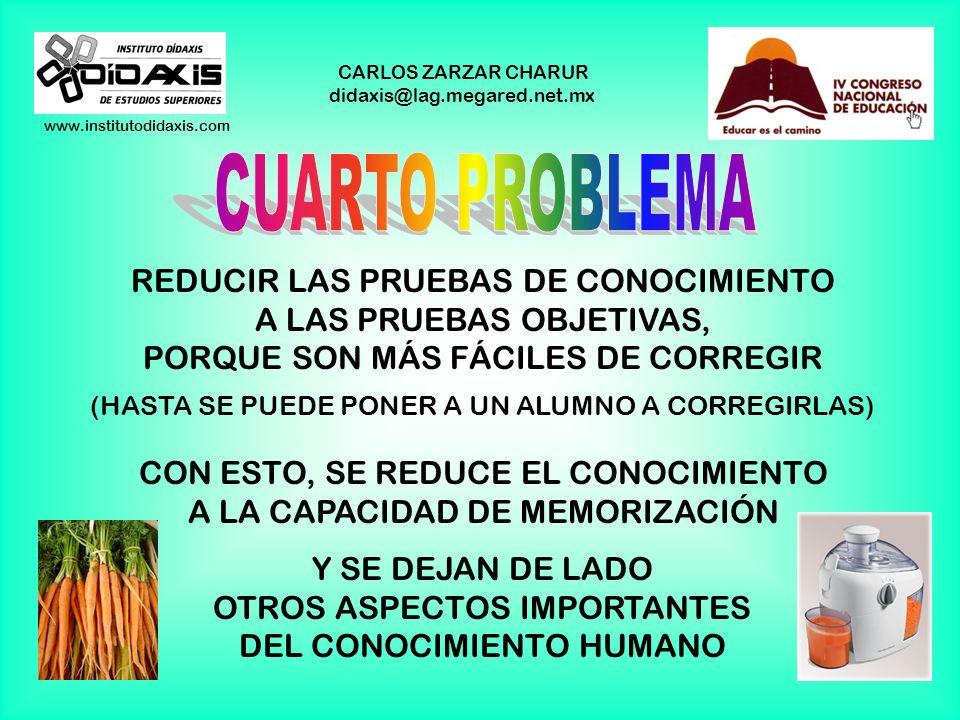 www.institutodidaxis.com CARLOS ZARZAR CHARUR didaxis@lag.megared.net.mx REDUCIR EL EXAMEN A PRUEBAS DE CONOCIMIENTO SE PIENSA QUE LO ÚNICO QUE HAY QU
