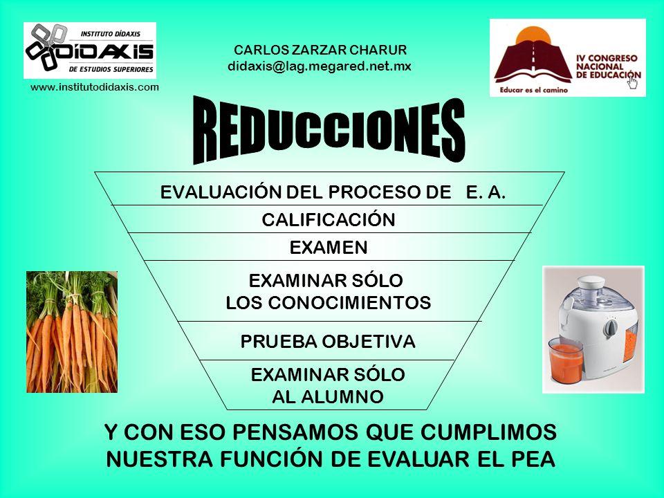 www.institutodidaxis.com CARLOS ZARZAR CHARUR didaxis@lag.megared.net.mx PENSAR QUE ES ÚNICAMENTE AL ALUMNO AL QUE HAY QUE EXAMINAR Y CALIFICAR SI HAB