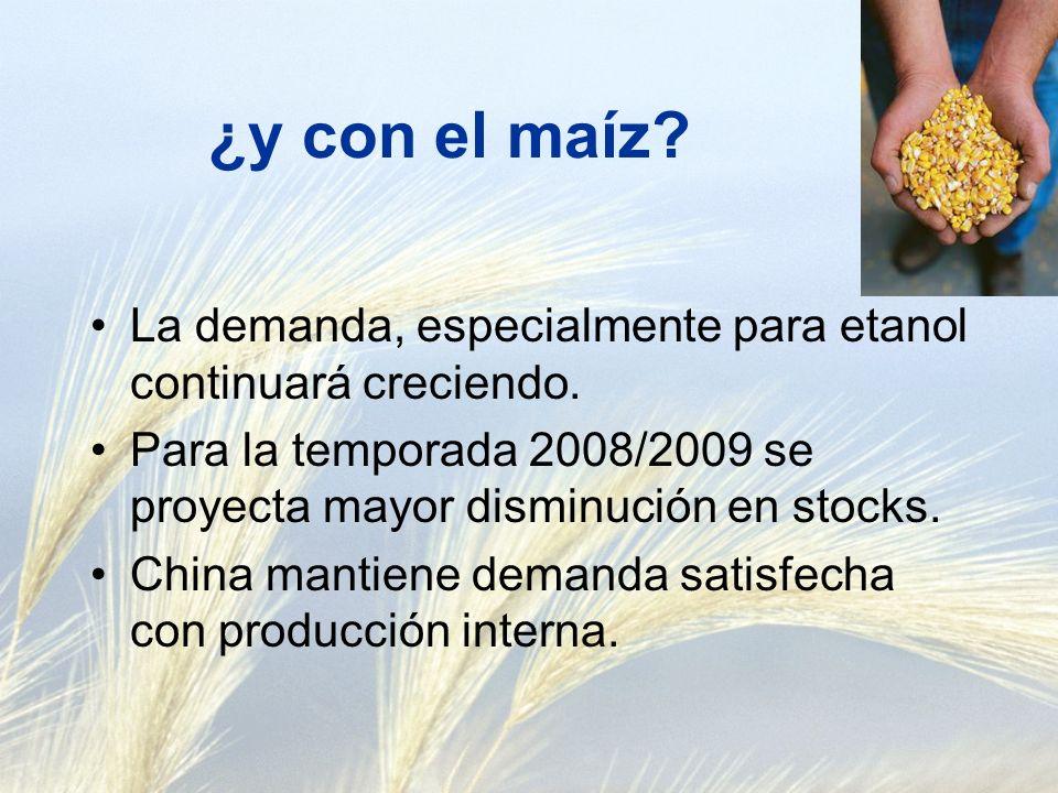 ¿y con el maíz. La demanda, especialmente para etanol continuará creciendo.
