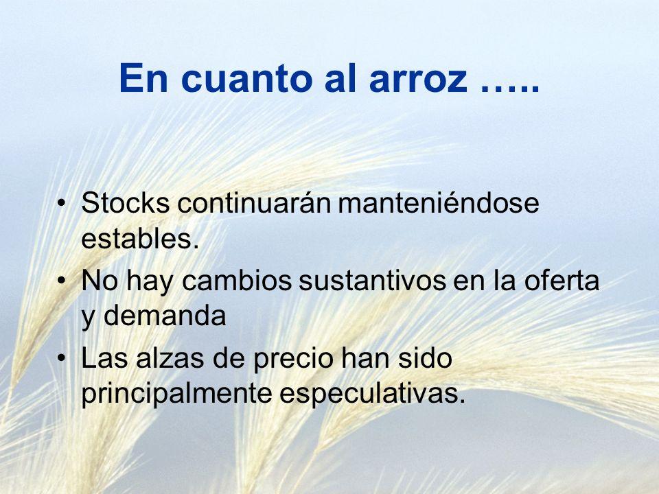 En cuanto al arroz ….. Stocks continuarán manteniéndose estables.