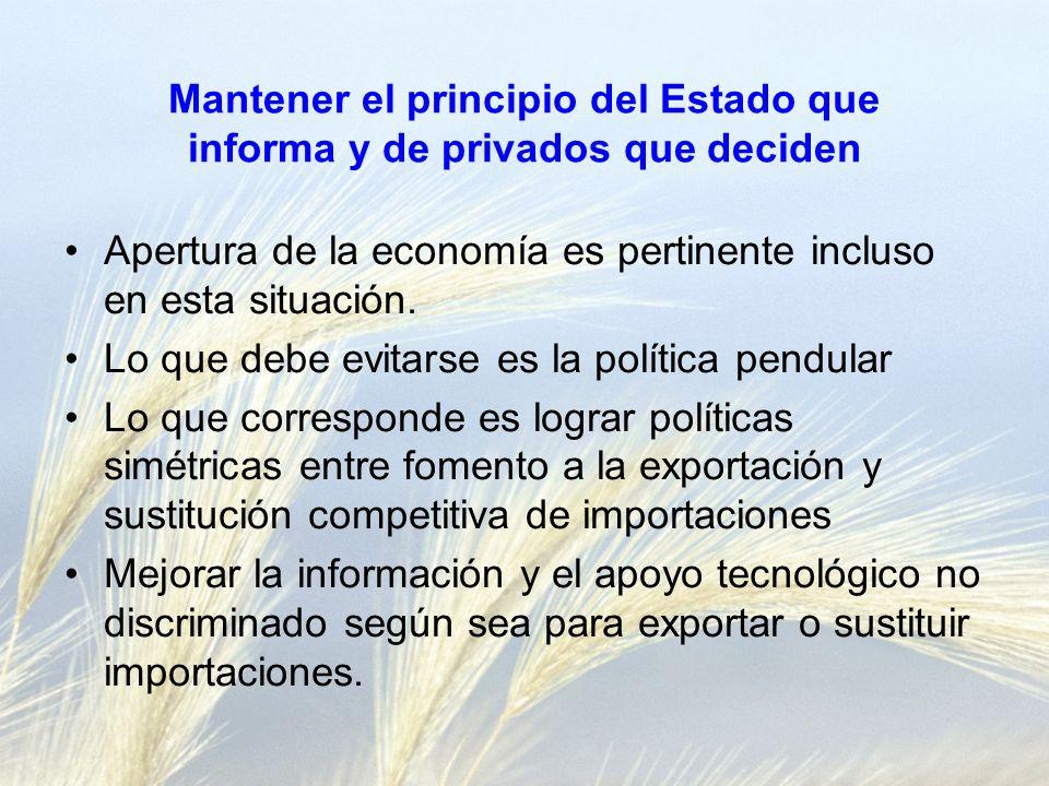 Mantener el principio del Estado que informa y de privados que deciden Apertura de la economía es pertinente incluso en esta situación.