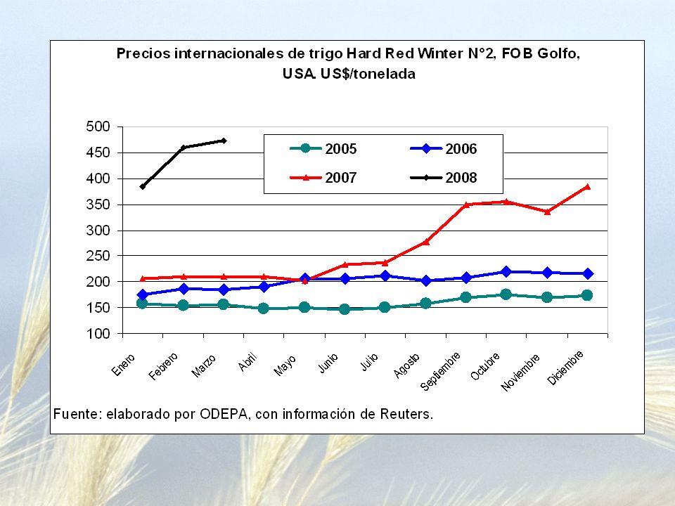 Maíz: gran incremento de la demanda Balance mundial de oferta y demanda de maíz a mayo de 2008 (millones de toneladas) Años Stock ProducciónDemandaComercio StockRelación inicialfinalstock/consumo* 2005/06132,14696,86703,8980,93125,1117,8 2006/07125,11705,34722,2693,07108,2015,0 2007/08 1/108,20772,17777,3995,71102,9713,2 2008/09 2/102,97772,17777,3995,7197,7412,6 Fuente: elaborado por ODEPA con información del Ministerio de Agricultura de Estados Unidos -USDA-.