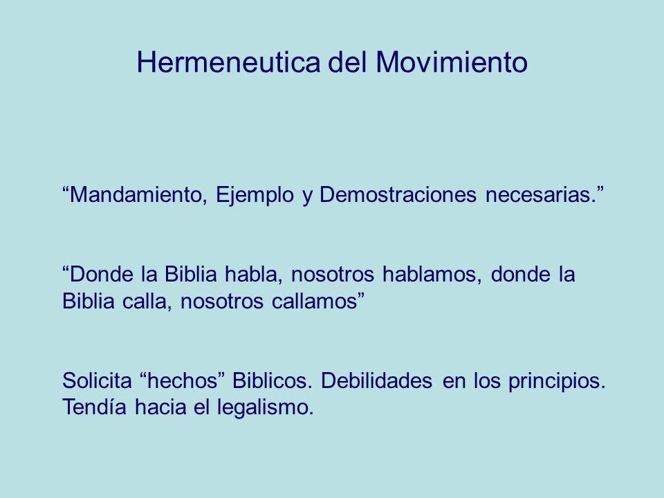 Hermeneutica del Movimiento Mandamiento, Ejemplo y Demostraciones necesarias. Donde la Biblia habla, nosotros hablamos, donde la Biblia calla, nosotro