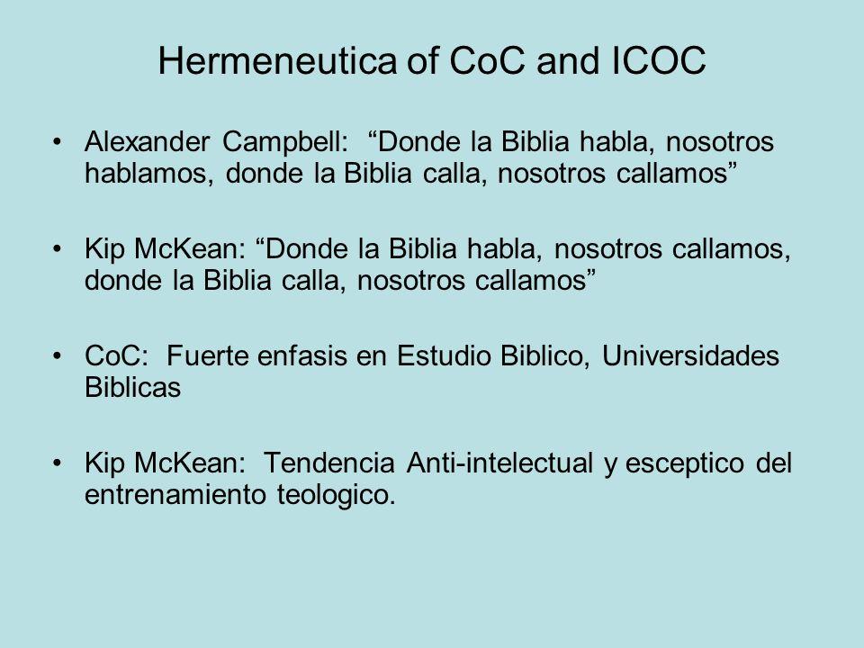 Hermeneutica of CoC and ICOC Alexander Campbell: Donde la Biblia habla, nosotros hablamos, donde la Biblia calla, nosotros callamos Kip McKean: Donde