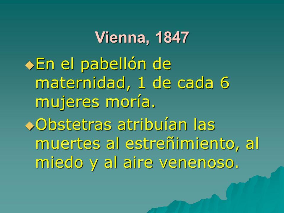 Vienna, 1847 En el pabellón de maternidad, 1 de cada 6 mujeres moría. En el pabellón de maternidad, 1 de cada 6 mujeres moría. Obstetras atribuían las