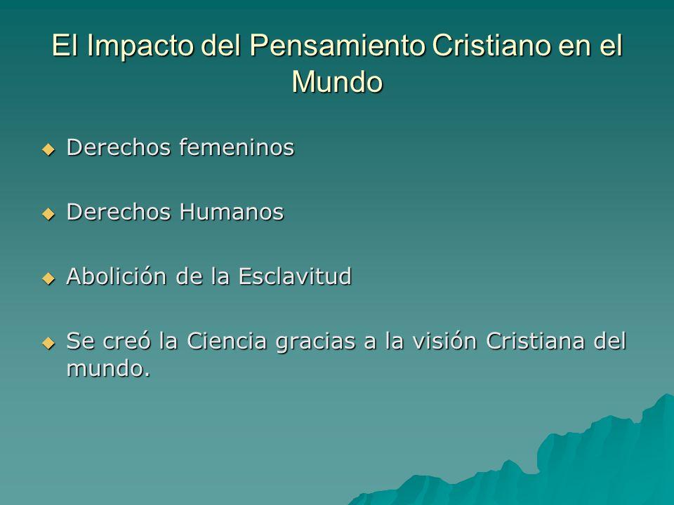 El Impacto del Pensamiento Cristiano en el Mundo Derechos femeninos Derechos femeninos Derechos Humanos Derechos Humanos Abolición de la Esclavitud Ab