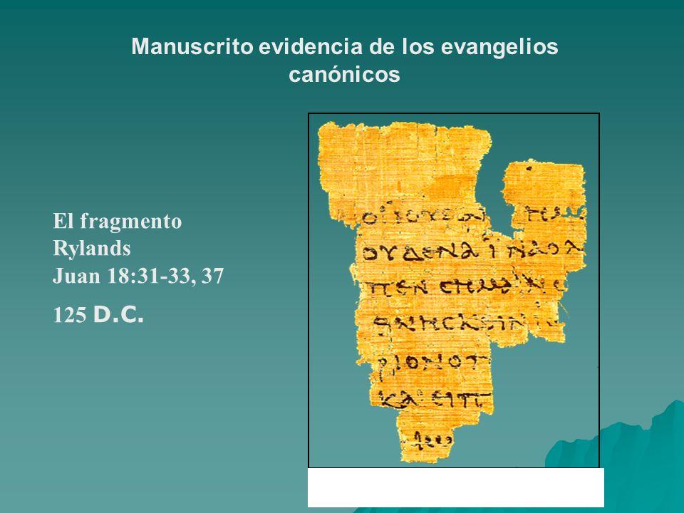 El fragmento Rylands Juan 18:31-33, 37 125 D.C. Manuscrito evidencia de los evangelios canónicos