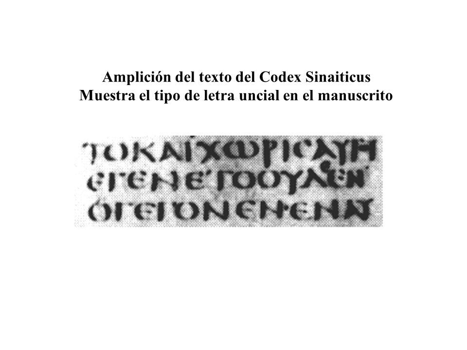 Amplición del texto del Codex Sinaiticus Muestra el tipo de letra uncial en el manuscrito