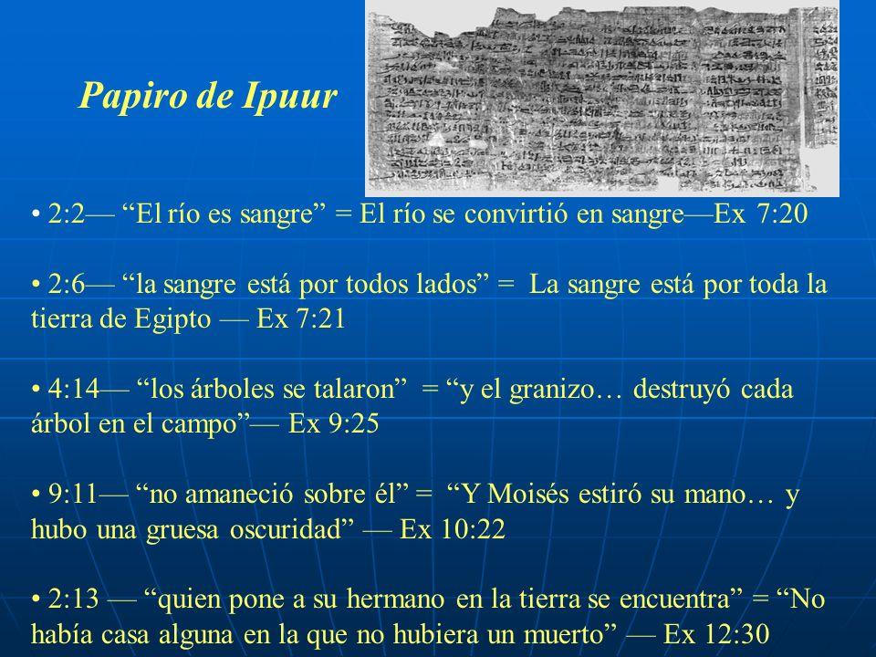 Papiro de Ipuur 2:2 El río es sangre = El río se convirtió en sangreEx 7:20 2:6 la sangre está por todos lados = La sangre está por toda la tierra de