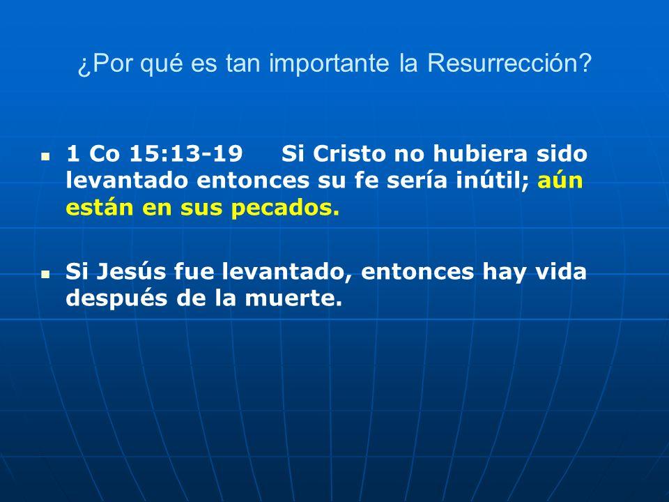 ¿Por qué es tan importante la Resurrección? 1 Co 15:13-19 Si Cristo no hubiera sido levantado entonces su fe sería inútil; aún están en sus pecados. S