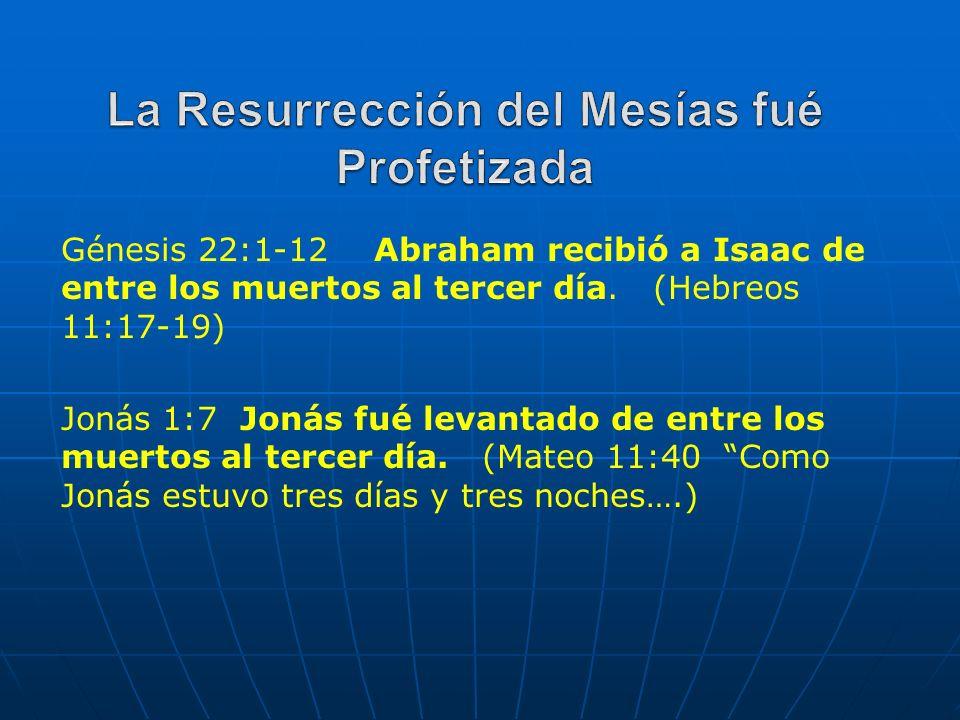 Génesis 22:1-12 Abraham recibió a Isaac de entre los muertos al tercer día. (Hebreos 11:17-19) Jonás 1:7 Jonás fué levantado de entre los muertos al t