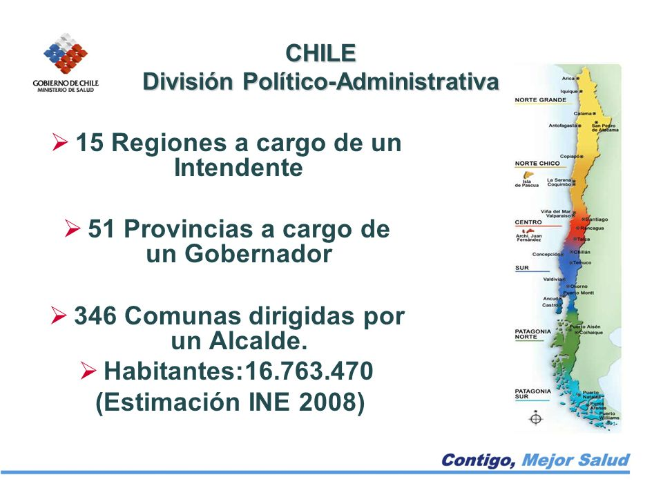 15 Regiones a cargo de un Intendente 51 Provincias a cargo de un Gobernador 346 Comunas dirigidas por un Alcalde. Habitantes:16.763.470 (Estimación IN