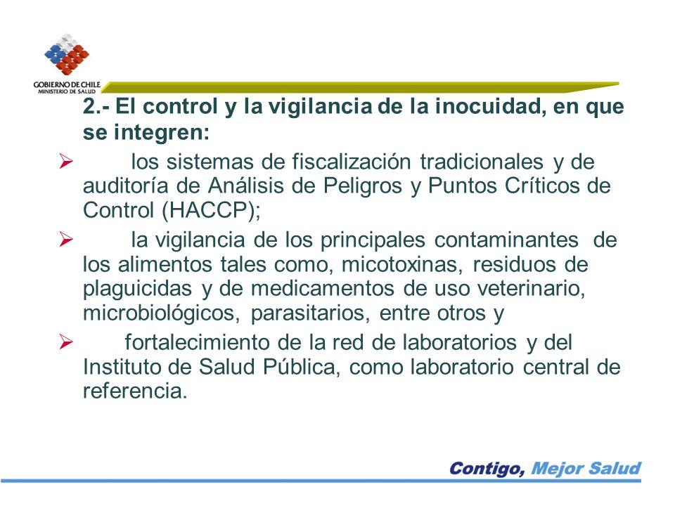 2.- El control y la vigilancia de la inocuidad, en que se integren: los sistemas de fiscalización tradicionales y de auditoría de Análisis de Peligros