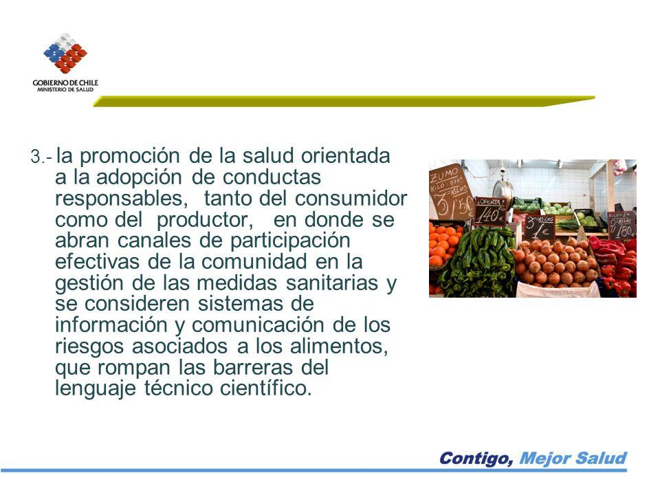 3.- la promoción de la salud orientada a la adopción de conductas responsables, tanto del consumidor como del productor, en donde se abran canales de