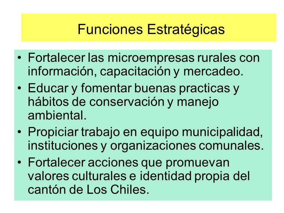 Funciones Estratégicas Fortalecer las microempresas rurales con información, capacitación y mercadeo.