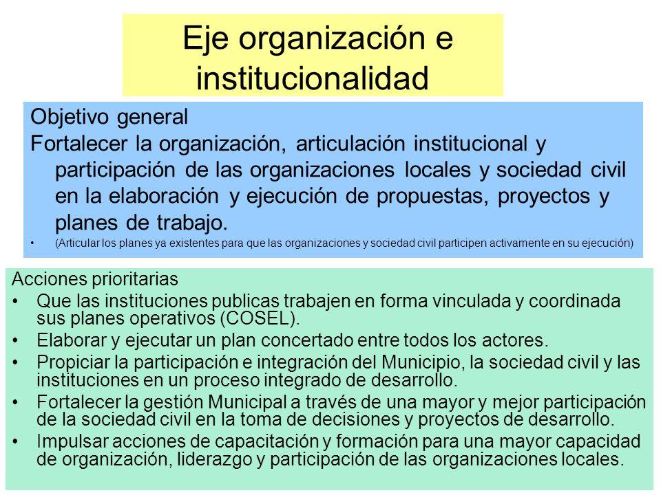 Eje organización e institucionalidad Acciones prioritarias Que las instituciones publicas trabajen en forma vinculada y coordinada sus planes operativos (COSEL).