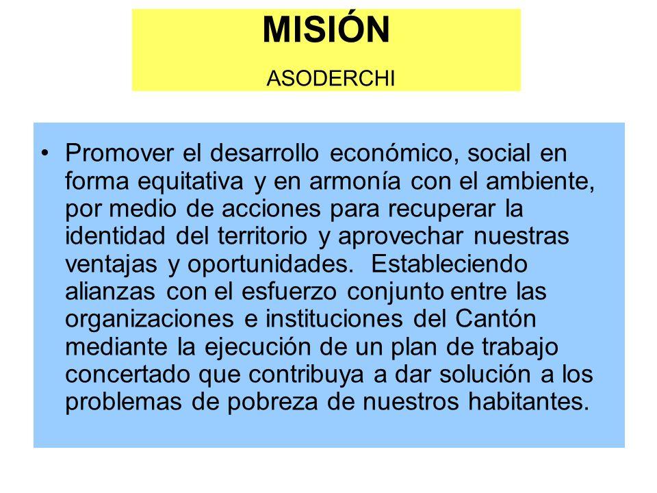 MISIÓN ASODERCHI Promover el desarrollo económico, social en forma equitativa y en armonía con el ambiente, por medio de acciones para recuperar la identidad del territorio y aprovechar nuestras ventajas y oportunidades.