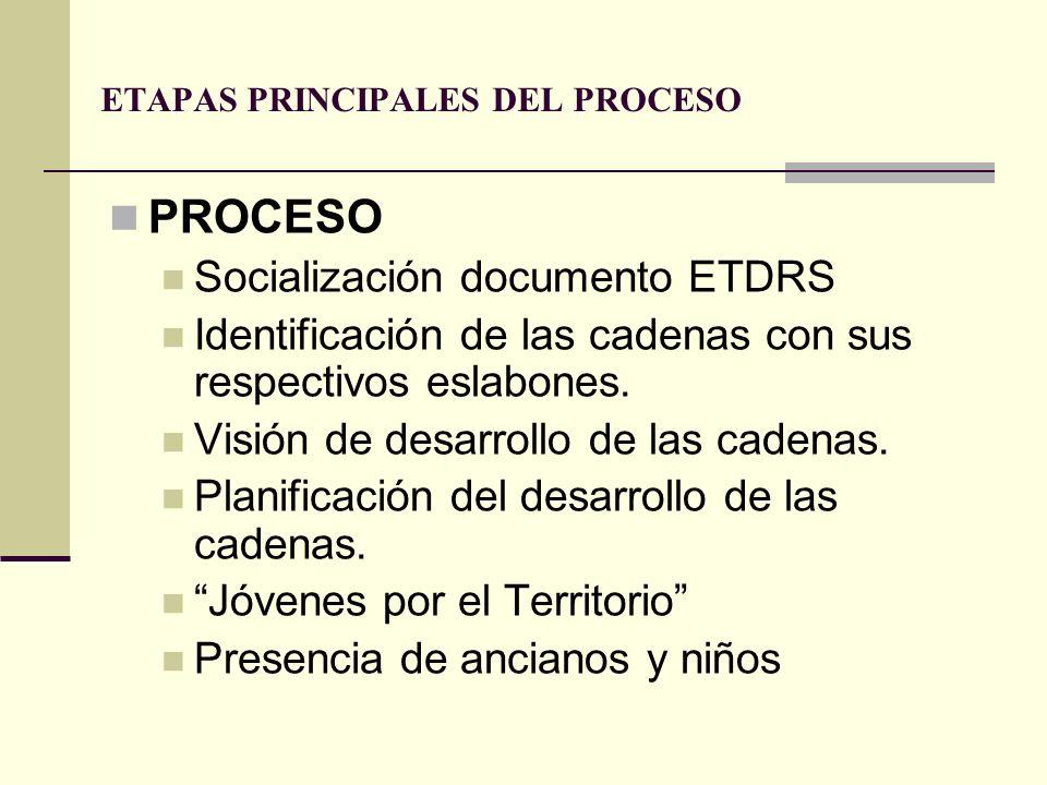 ETAPAS PRINCIPALES DEL PROCESO PROCESO Socialización documento ETDRS Identificación de las cadenas con sus respectivos eslabones. Visión de desarrollo