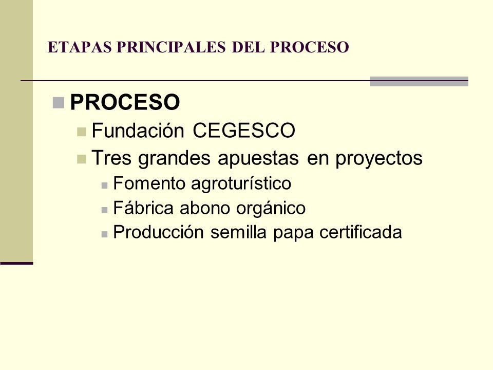 ETAPAS PRINCIPALES DEL PROCESO PROCESO Fundación CEGESCO Tres grandes apuestas en proyectos Fomento agroturístico Fábrica abono orgánico Producción se