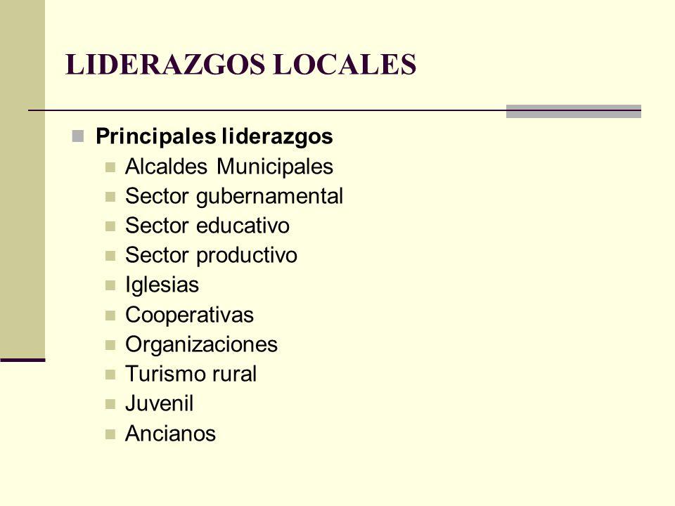 LIDERAZGOS LOCALES Principales liderazgos Alcaldes Municipales Sector gubernamental Sector educativo Sector productivo Iglesias Cooperativas Organizac