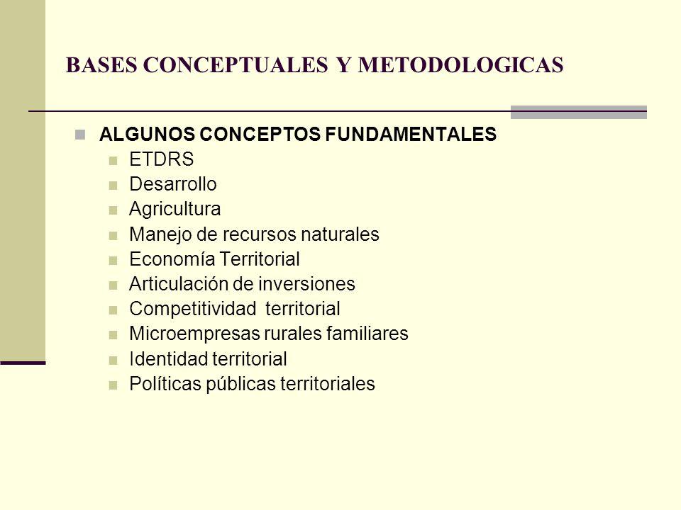 BASES CONCEPTUALES Y METODOLOGICAS ALGUNOS CONCEPTOS FUNDAMENTALES ETDRS Desarrollo Agricultura Manejo de recursos naturales Economía Territorial Arti