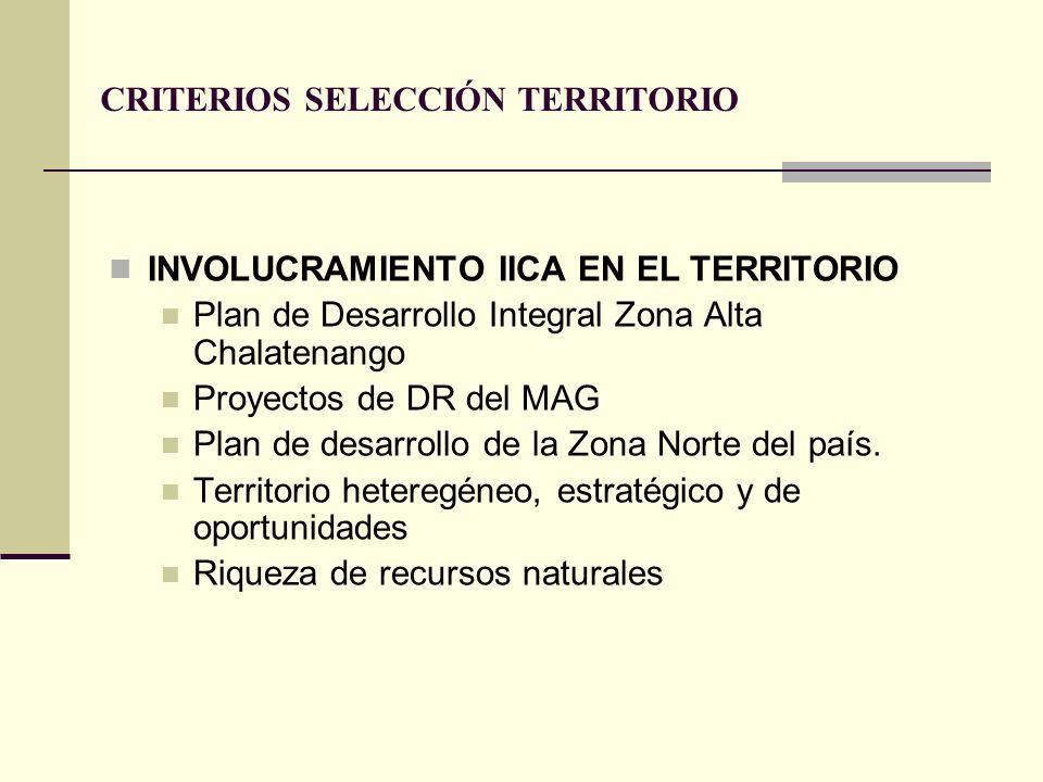 CRITERIOS SELECCIÓN TERRITORIO INVOLUCRAMIENTO IICA EN EL TERRITORIO Plan de Desarrollo Integral Zona Alta Chalatenango Proyectos de DR del MAG Plan d