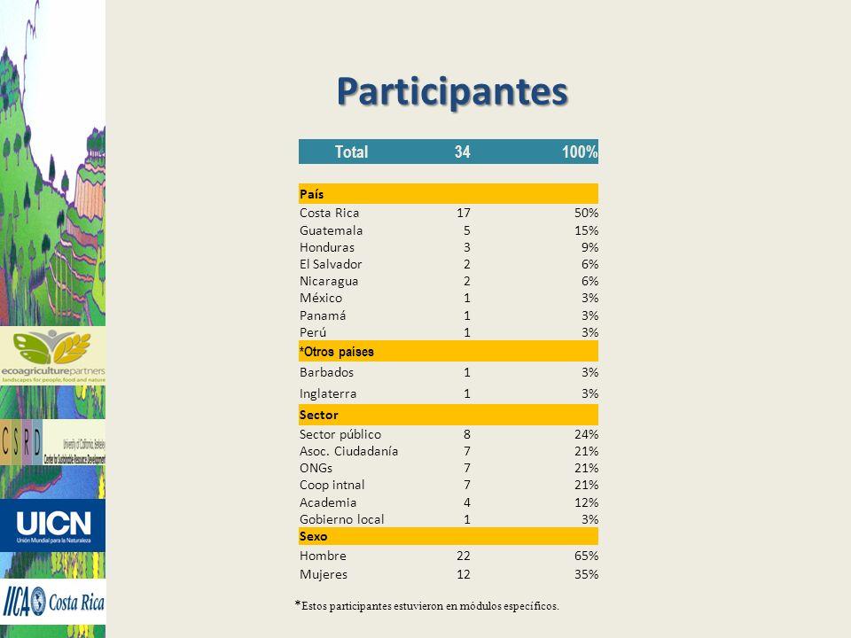 Participantes Total34100% País Costa Rica1750% Guatemala515% Honduras39% El Salvador26% Nicaragua26% México13% Panamá13% Perú13% *Otros países Barbado