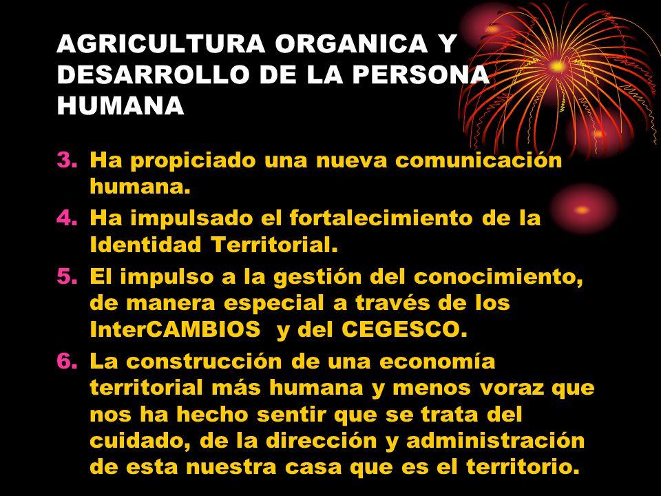 AGRICULTURA ORGANICA Y DESARROLLO DE LA PERSONA HUMANA 3.Ha propiciado una nueva comunicación humana. 4.Ha impulsado el fortalecimiento de la Identida