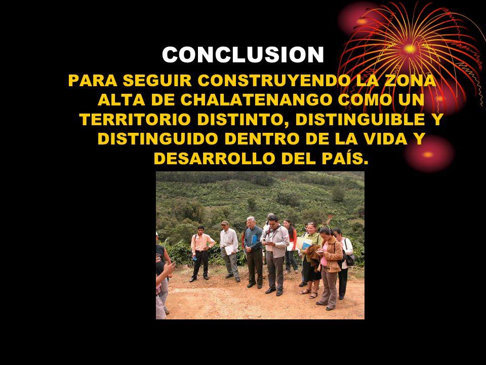 CONCLUSION PARA SEGUIR CONSTRUYENDO LA ZONA ALTA DE CHALATENANGO COMO UN TERRITORIO DISTINTO, DISTINGUIBLE Y DISTINGUIDO DENTRO DE LA VIDA Y DESARROLL