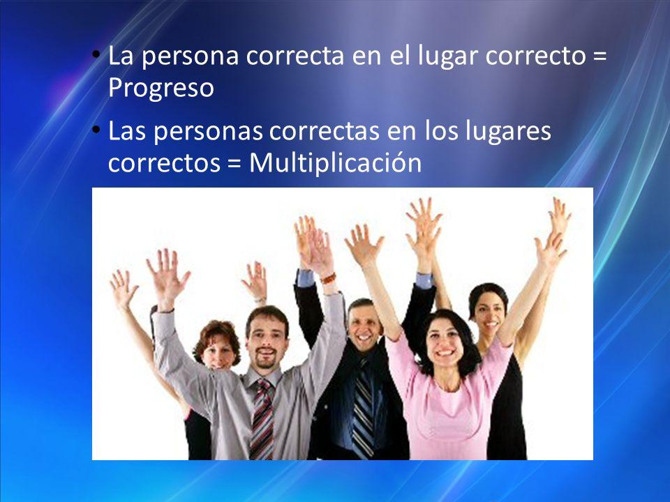 La persona correcta en el lugar correcto = Progreso Las personas correctas en los lugares correctos = Multiplicación