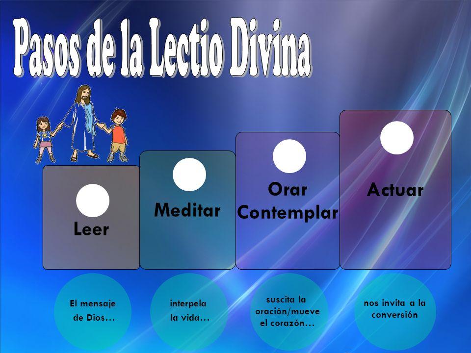 Leer 1 Meditar 2 Orar Contemplar 3 Actuar 4 El mensaje de Dios… interpela la vida… suscita la oración/mueve el corazón… nos invita a la conversión