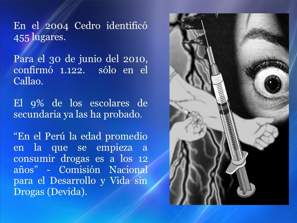 En el 2004 Cedro identificó 455 lugares. Para el 30 de junio del 2010, confirmó 1.122. sólo en el Callao. El 9% de los escolares de secundaria ya las