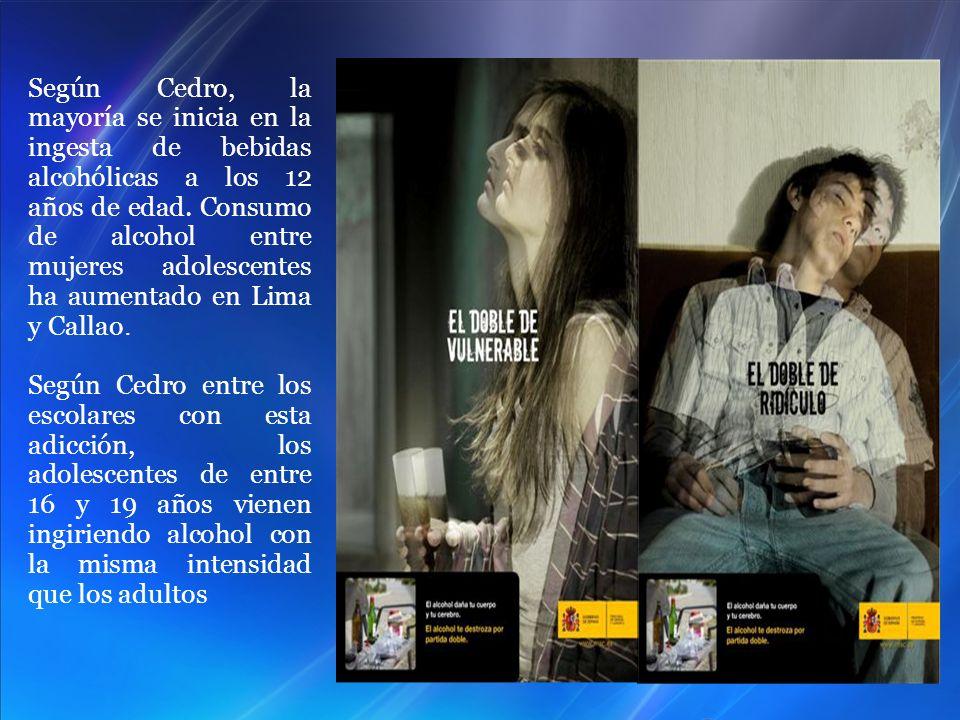 Según Cedro, la mayoría se inicia en la ingesta de bebidas alcohólicas a los 12 años de edad. Consumo de alcohol entre mujeres adolescentes ha aumenta