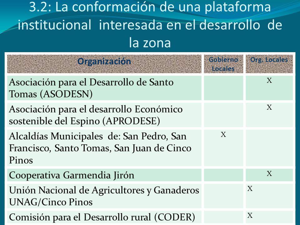 3.2: La conformación de una plataforma institucional interesada en el desarrollo de la zona Organización Gobierno Locales Org. Locales Asociación para
