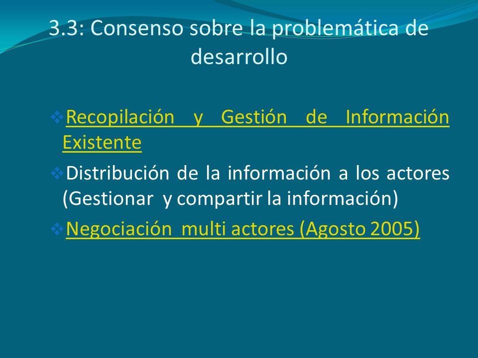 3.3: Consenso sobre la problemática de desarrollo Recopilación y Gestión de Información Existente Recopilación y Gestión de Información Existente Dist