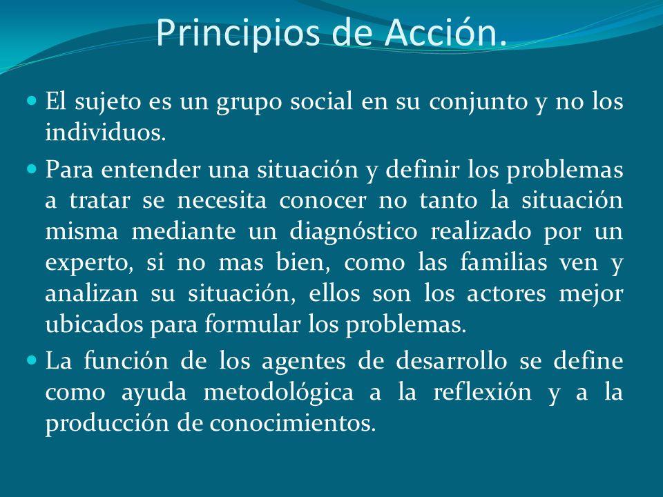 Principios de Acción. El sujeto es un grupo social en su conjunto y no los individuos. Para entender una situación y definir los problemas a tratar se